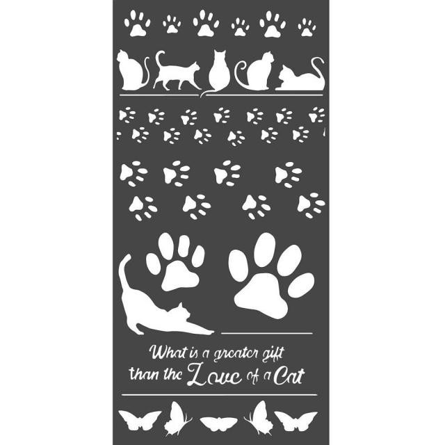 """Stencil 6"""" x 9"""" Orchids and Cats Huellas"""