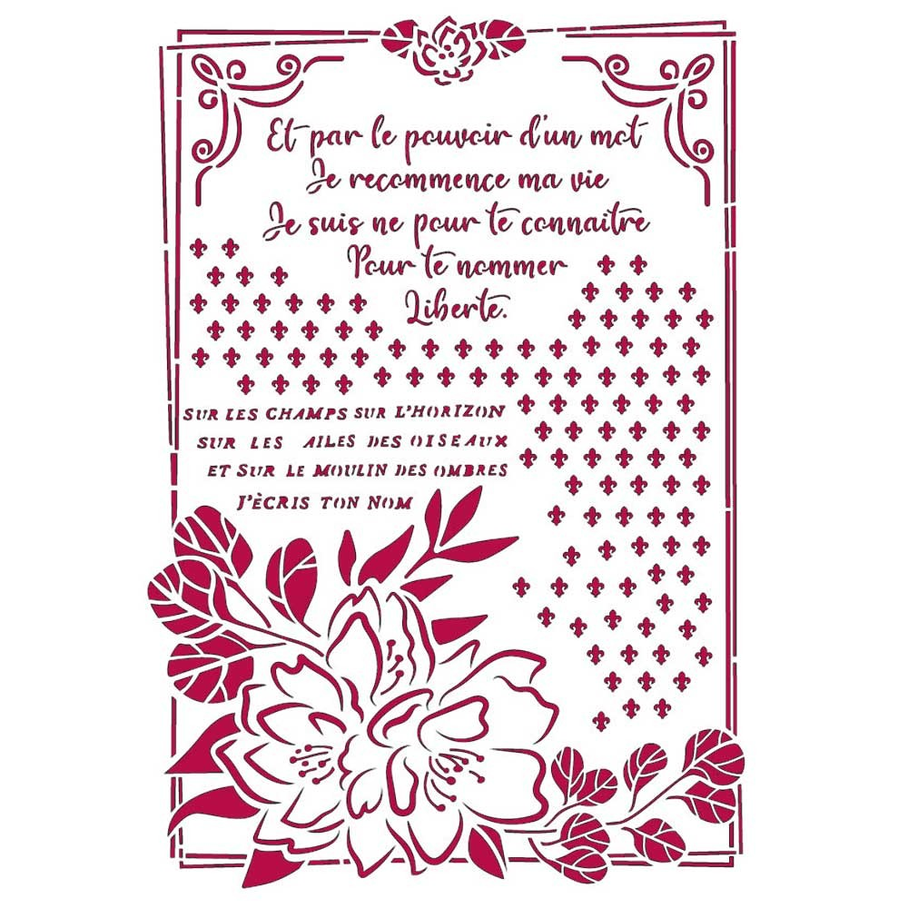 Stencil A4 Romantic Collection Journal flower with frame