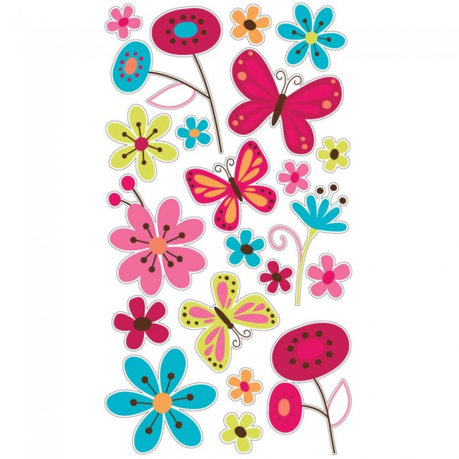 Glitter Butterfly Garden Stickers