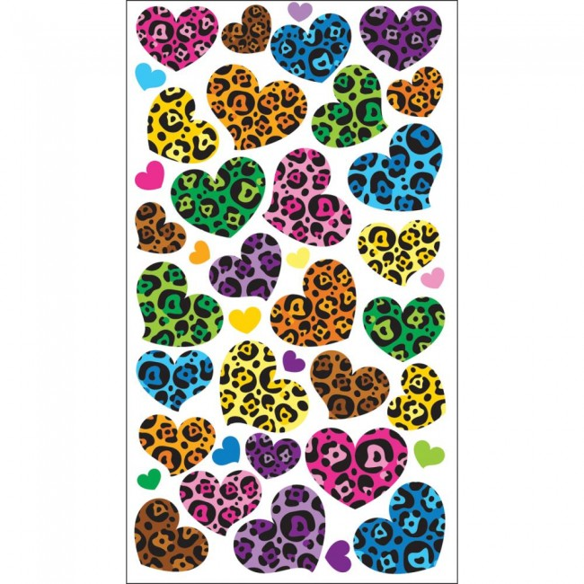 Animal Print Hearts Stickers