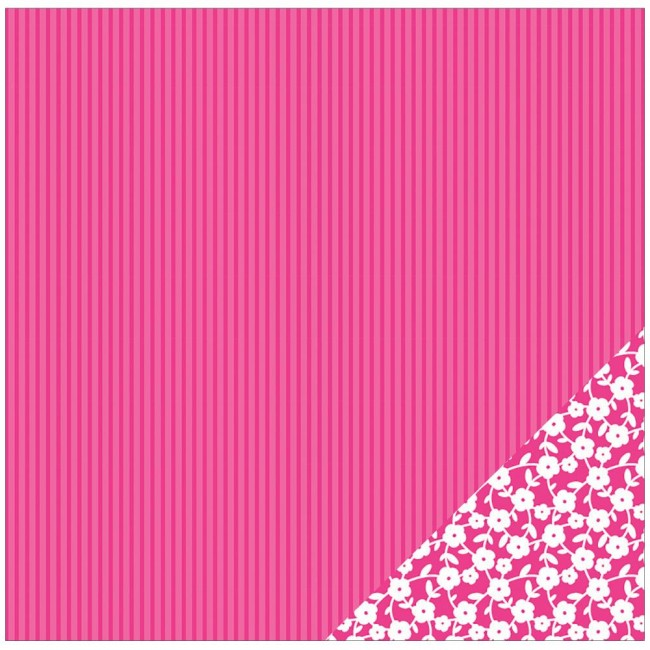 Papel estampado Doble cara 12x12 Basics Pink Stripe