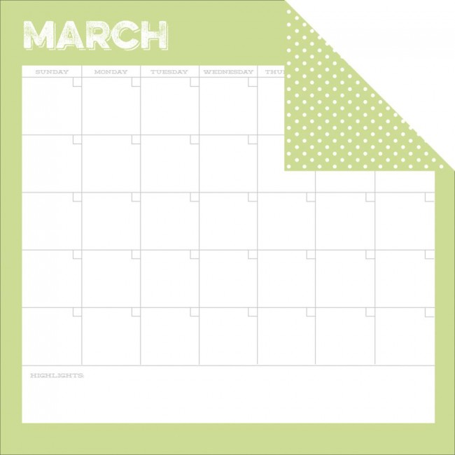 Papel estampado Doble cara 12x12-Life Documented-March Calendar