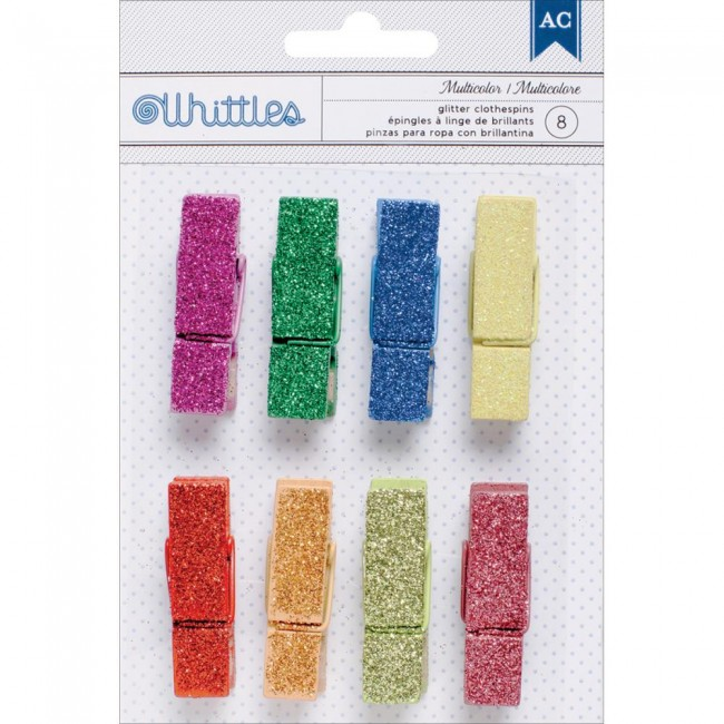 Whittles Clothespins Multi Color Glitter