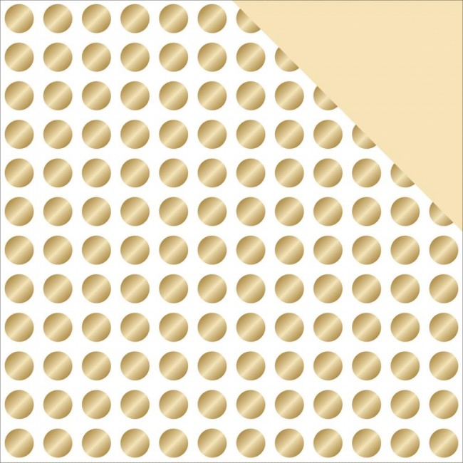 Papel estampado Doble cara 12x12-Glam Factor-Gold Dots gold Foil