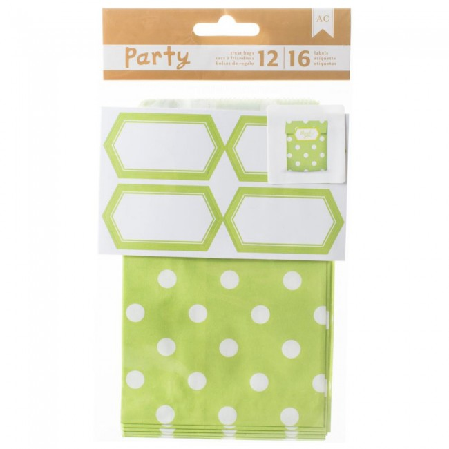 Green & White Treat Bags & Labels