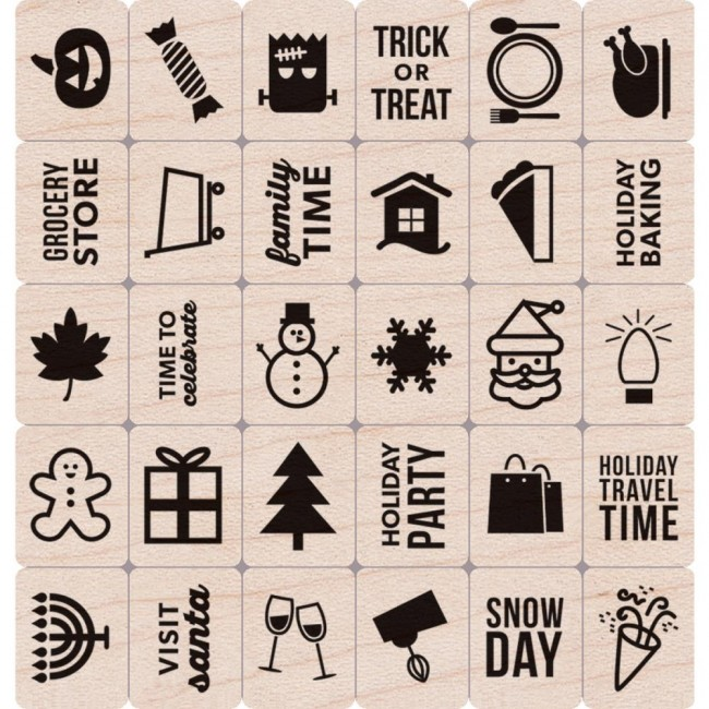 Sello de madera Kelly´s holiday planner icons