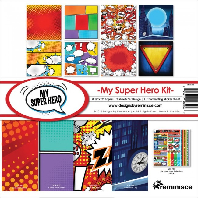 Kit papeles estampados 12x12 My Super Hero