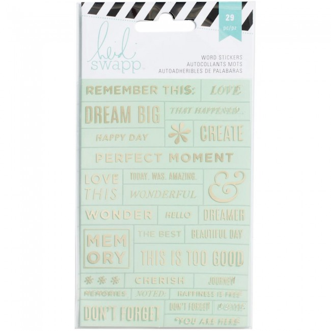 Mint/Gold Word Stickers