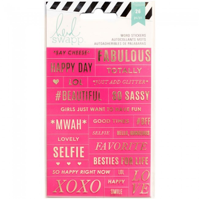 Pink/Gold Word Stickers