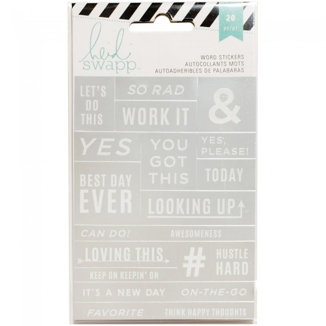 Silver/White Word Stickers