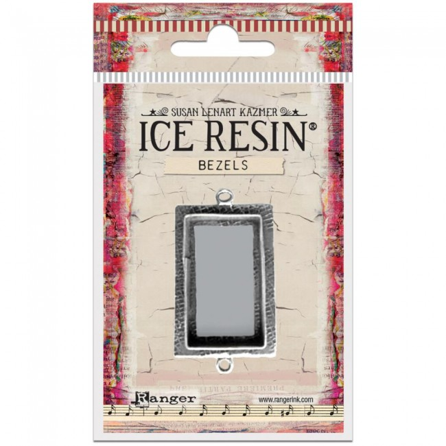 Antique Silver Medium Rectangle Bezels Ice Resin