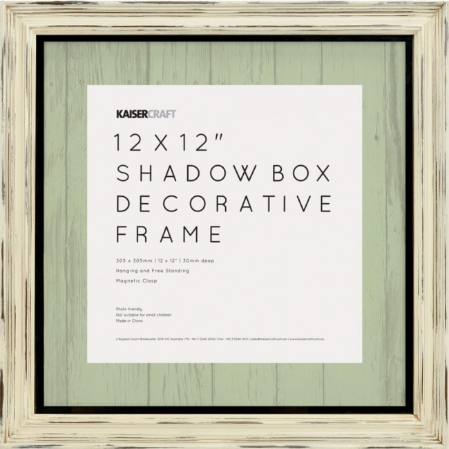 "Antique White Distressed Shadow Box Frame 12""x12"""