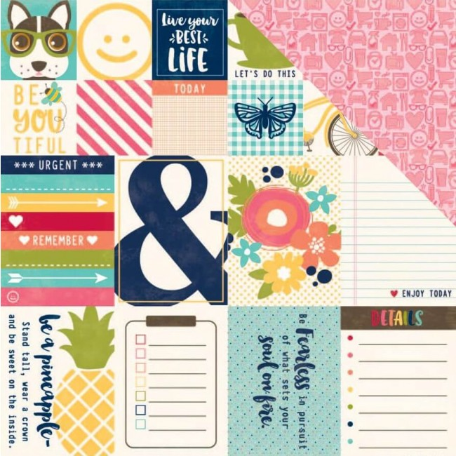 Papel Estampado Doble Cara 12x12 - Chit Chat Chowder - Bite Size
