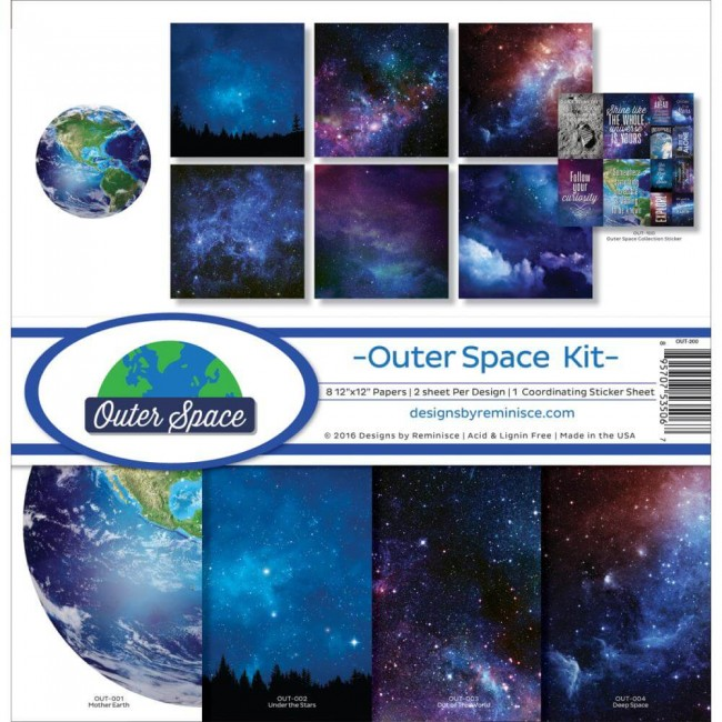 Kit Papeles Estampados 12x12 Outer Space