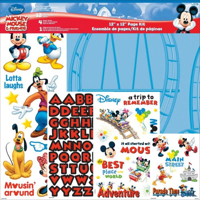 Kit Papeles Estampados 12x12 Mickey Mouse