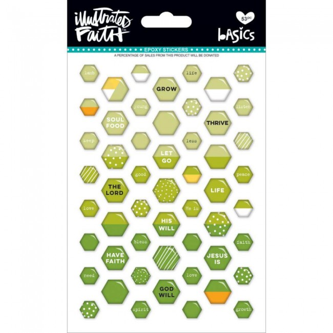 Pegatinas Epoxy Basics - Mini Hexies Olive You