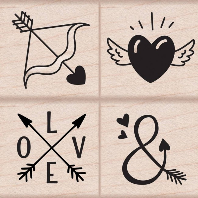 Set sellos madera Love Tattoos