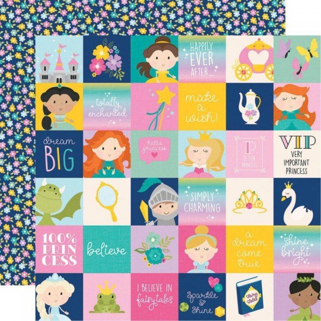 "Papel Estampado Doble Cara 12x12 Little Princess 2""X2"" Elements"