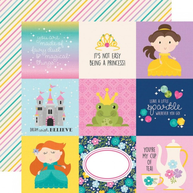 "Papel Estampado Doble Cara 12x12 Little Princess 4""X4"" Elements"