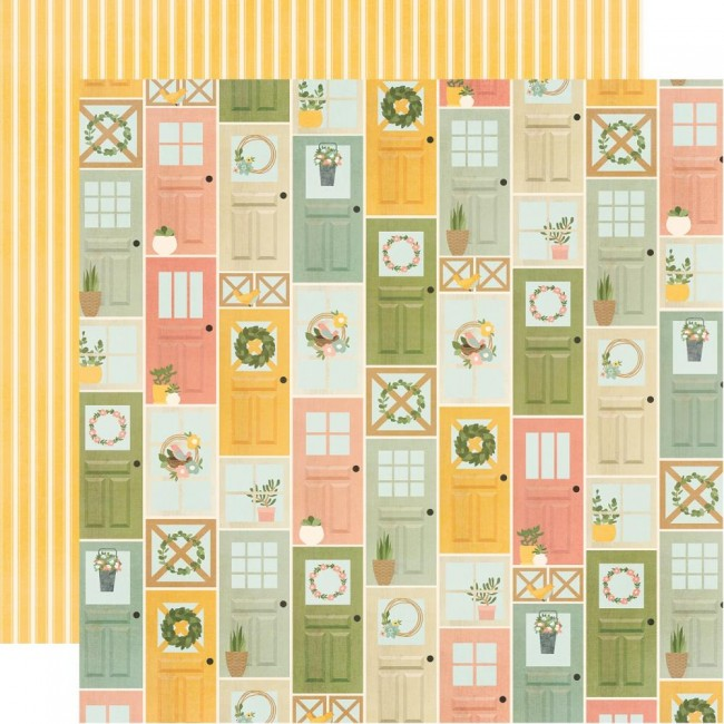 Papel Estampado Doble Cara 12x12 Spring Farmhouse Welcome Home