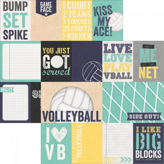 "Papel Estampado Doble Cara 12x12 - Volleyball - 3""x4"" & 4""x6"""