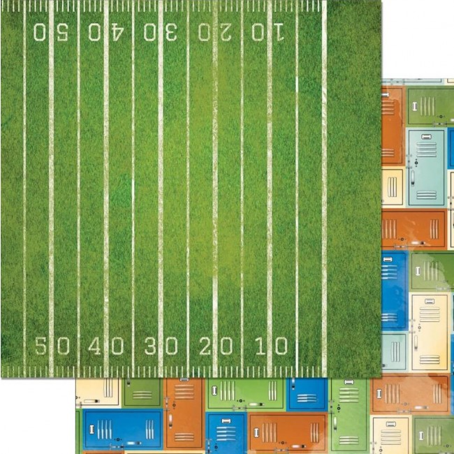 Papel Estampado Doble Cara 12x12   Game On!   1st Down