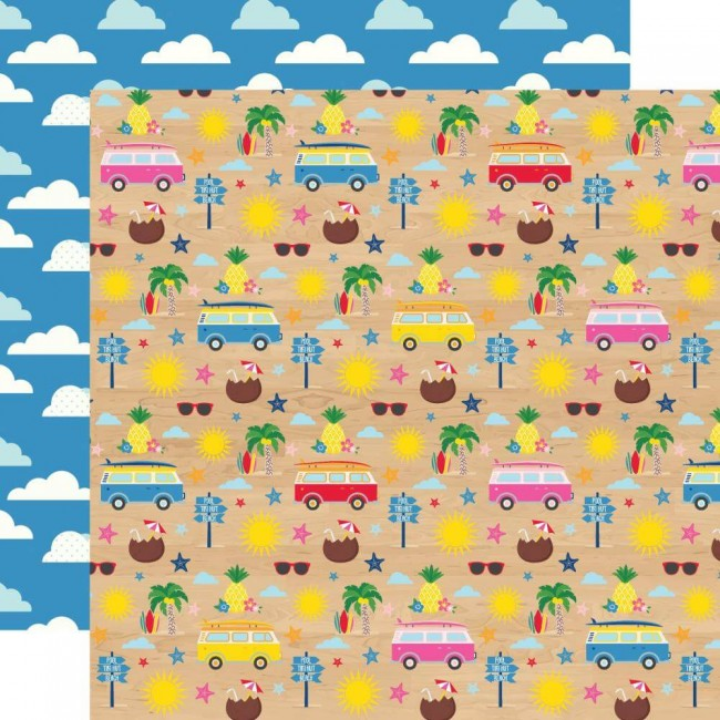 Papel Estampado Doble Cara 12x12 I Love Summer Beach Day