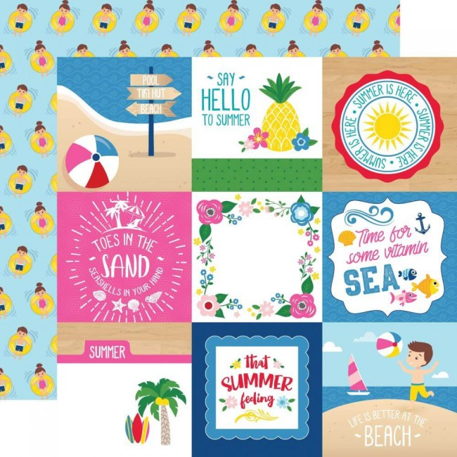 "Papel Estampado Doble Cara 12x12 I Love Summer 4""X4"" Journaling Cards"