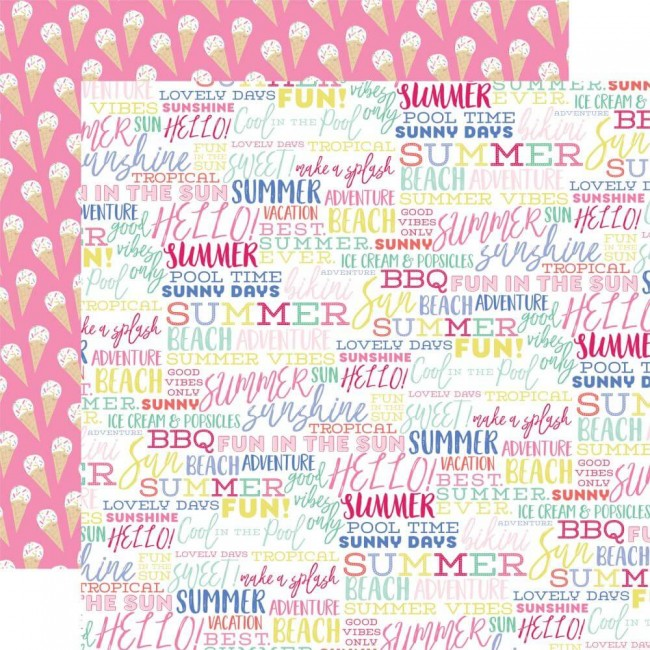 Papel Estampado Doble Cara 12x12 Best Summer Ever Summer Words