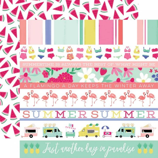 Papel Estampado Doble Cara 12x12 Best Summer Ever Border Strips