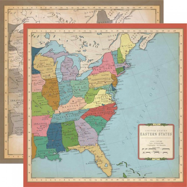 Papel Estampado Doble Cara 12x12 Cartography No.1 US East Coast