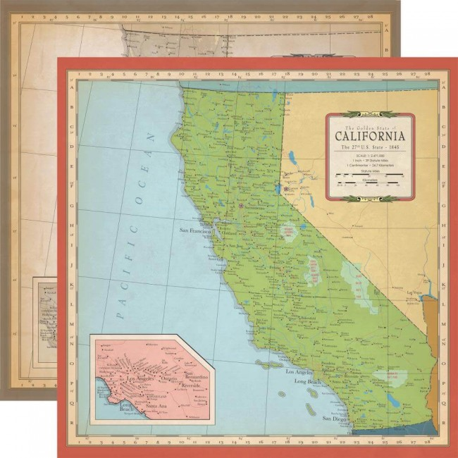 Papel Estampado Doble Cara 12x12 Cartography No.1 California Map