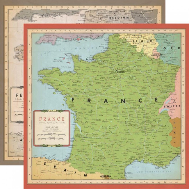 Papel Estampado Doble Cara 12x12 Cartography No.1 France Map