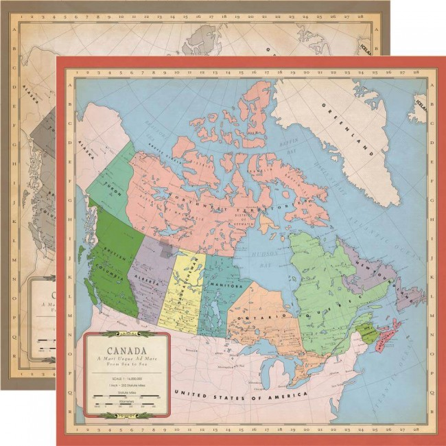 Papel Estampado Doble Cara 12x12 Cartography No.1 Canada Map