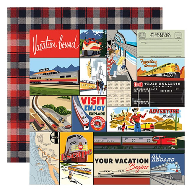 Papel Estampado Doble Cara 12x12 All Aboard Multi Journaling Cards