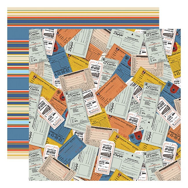 Papel Estampado Doble Cara 12x12 All Aboard Tickets