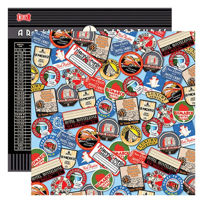 Papel Estampado Doble Cara 12x12 All Aboard Destination Stickers
