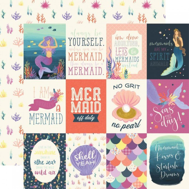"Papel Estampado Doble Cara 12x12 Mermaid Dreams 3""X4"" Journaling Cards"