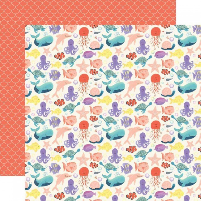 Papel Estampado Doble Cara 12x12 Mermaid Dreams Make Waves