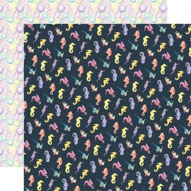 Papel Estampado Doble Cara 12x12 Mermaid Dreams Seahorses