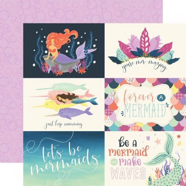 "Papel Estampado Doble Cara 12x12 Mermaid Dreams 6""X4"" Journaling Cards"