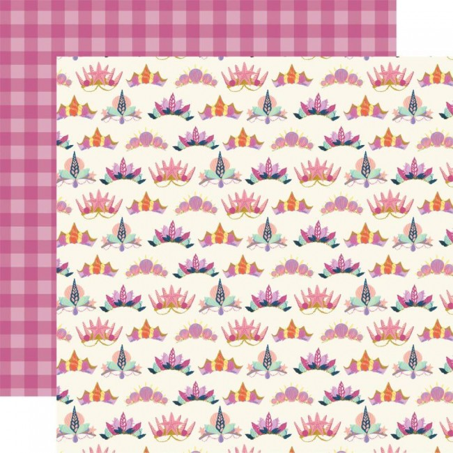 Papel Estampado Doble Cara 12x12 Mermaid Dreams Shell Crowns