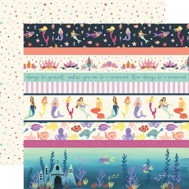 Papel Estampado Doble Cara 12x12 Mermaid Dreams Border Strips