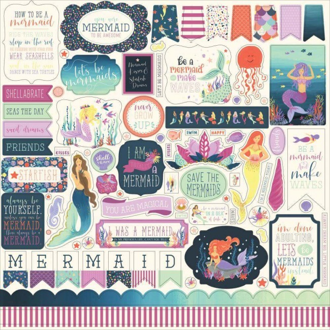 Pegatinas 12x12 Mermaid Dreams Elements