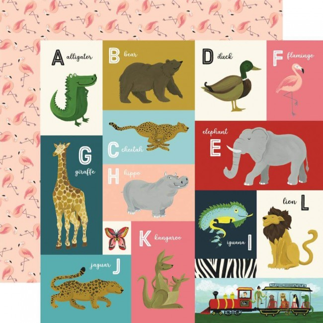 Papel Estampado Doble Cara 12x12 Animal Safari Animal Alphabet Cards A-L