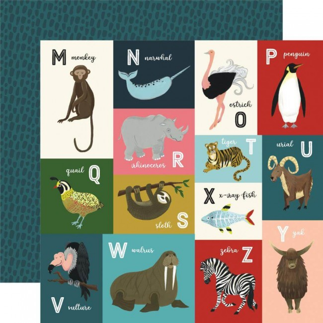 Papel Estampado Doble Cara 12x12 Animal Safari Animal Alphabet Cards M-Z