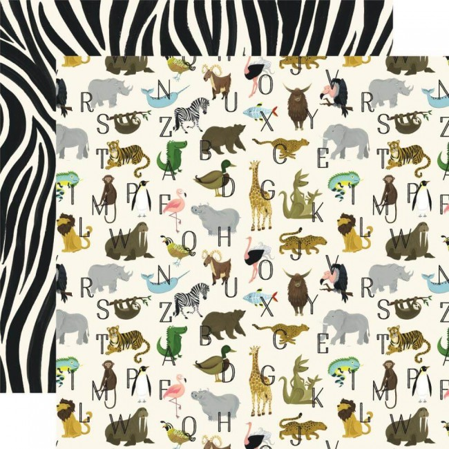 Papel Estampado Doble Cara 12x12 Animal Safari Zoo Letters