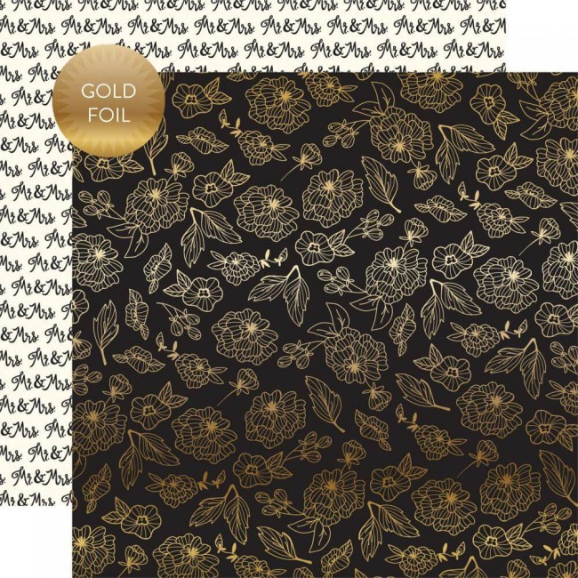 Papel Estampado Doble Cara 12x12 Wedding Day Gold Floral