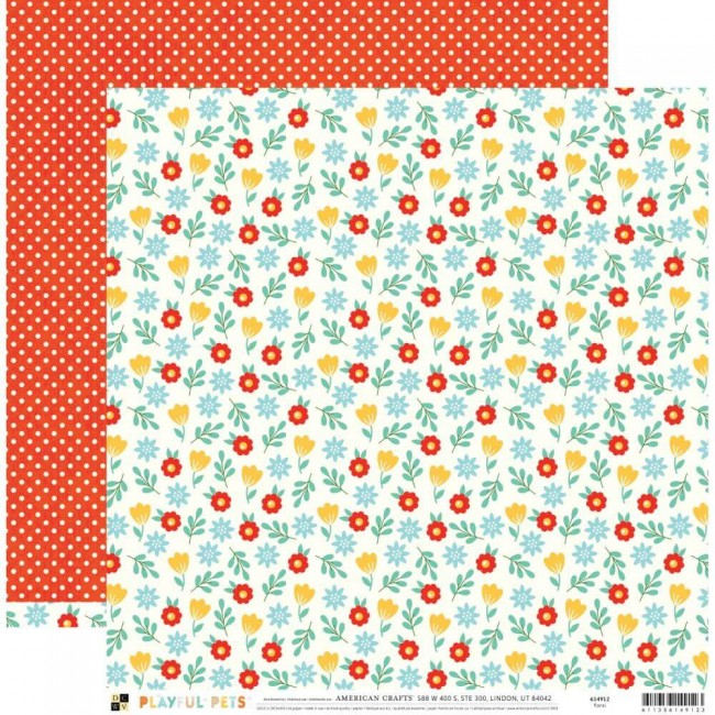 Papel Estampado Doble Cara 12x12 Playful Pets Floral
