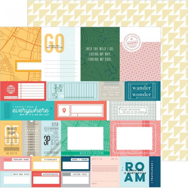 Papel Estampado Doble Cara 12x12 Out & About Bucket List